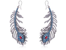 Load image into Gallery viewer, Blue Turquoise Peacock Feather Hook Jewelry Earrings With Ss For Women