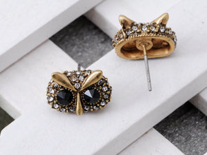 Antique Black White Accented Owl Earrings