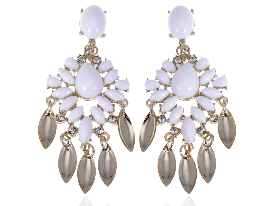 Royal Chalky White Bead White Earrings