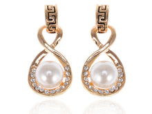 Load image into Gallery viewer, Accented Single Pearl Infinity Drop Earrings
