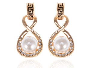 Accented Single Pearl Infinity Drop Earrings