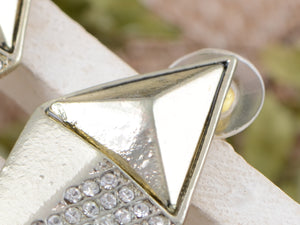 Contemporary Parellogram Pyramid Accented Earrings