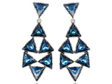 Load image into Gallery viewer, Blue Embellished Triangle Dangle Earrings