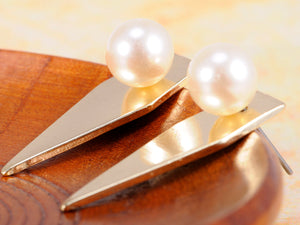 Contemporary Arrow Shaped Single Pearl Accented Earrings