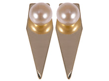 Load image into Gallery viewer, Contemporary Arrow Shaped Single Pearl Accented Earrings