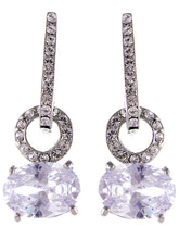 Load image into Gallery viewer, Silver Big Round Circle Oval Diamond Dangle Drop Earrings