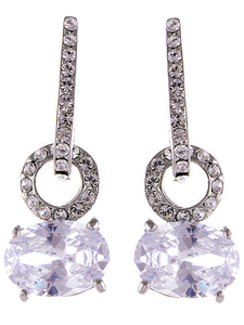Silver Big Round Circle Oval Diamond Dangle Drop Earrings