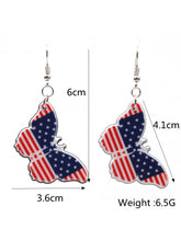 Load image into Gallery viewer, American Flag Butterfly Heart-Shaped Earrings
