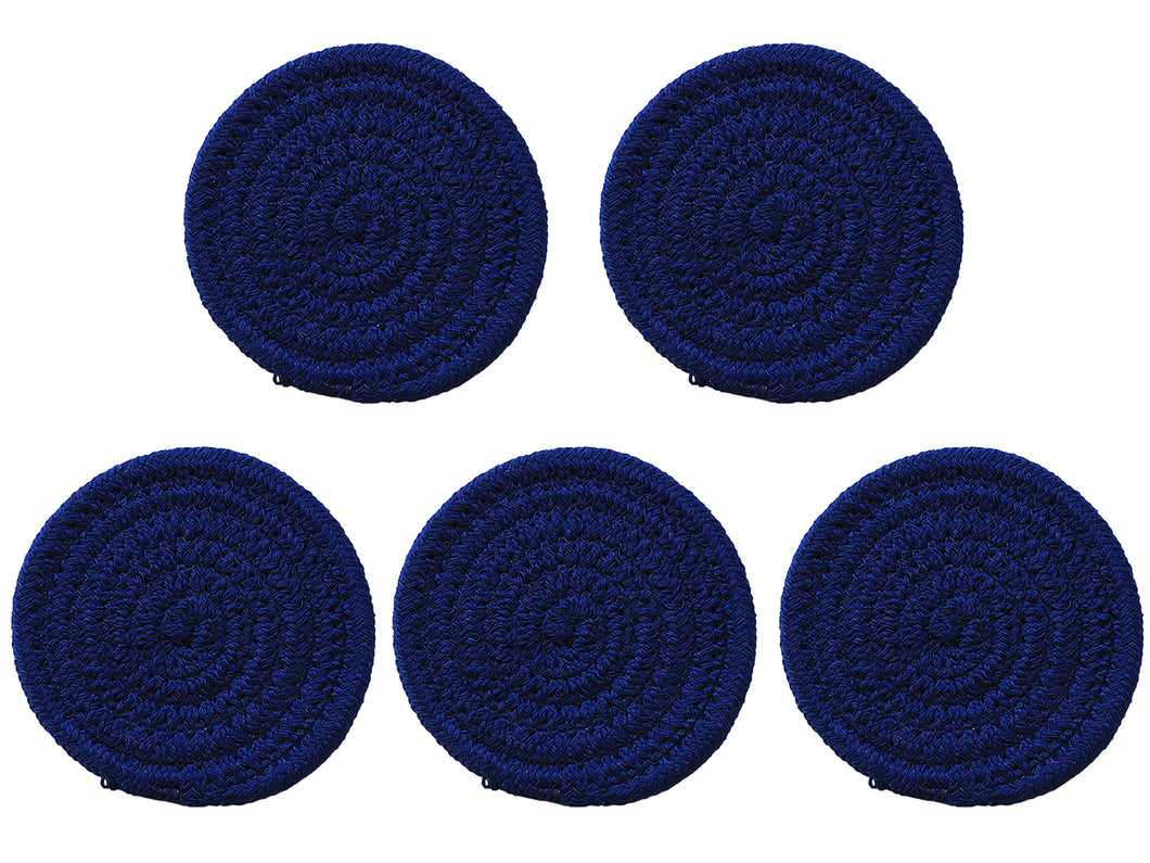 Cotton Woven Braided Round Coasters Set of 5