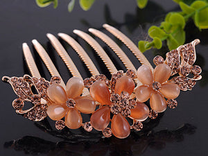 Rose Gold Flower Trio Light Peach Bead Hair Comb