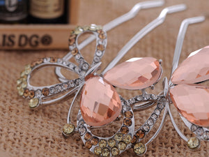D Embellished Butterfly Hair Clip With Peach Hued Accents