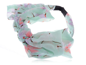 Pastel Colors Blue Summertime Flowers Flowing Bow Hair Piece Headband