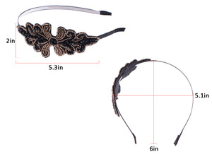 Masquerade Black Brown Beaded Formal Gown Hair Headband