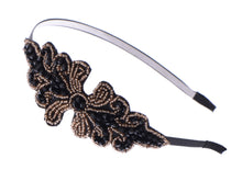 Load image into Gallery viewer, Masquerade Black Brown Beaded Formal Gown Hair Headband