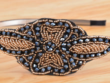 Load image into Gallery viewer, Black Vintage Retro Flapper Dark Blue Beaded Head Band