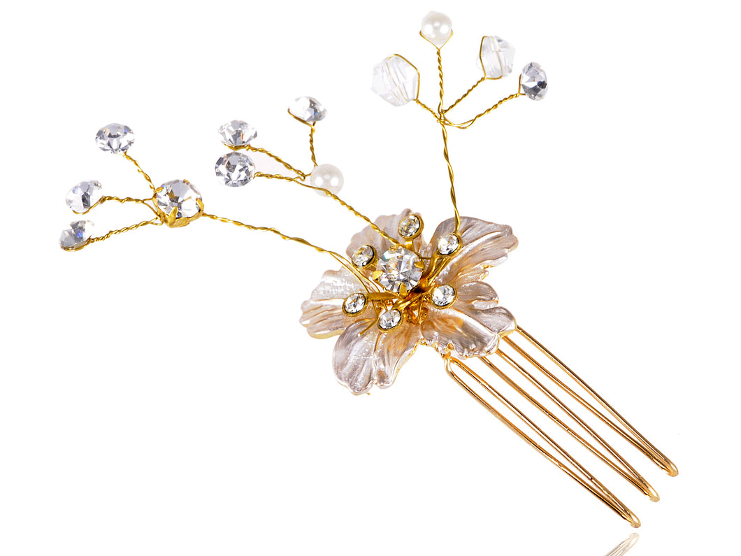 Vintage Flower Pearl Embellished Gold Bridal Hair Pin