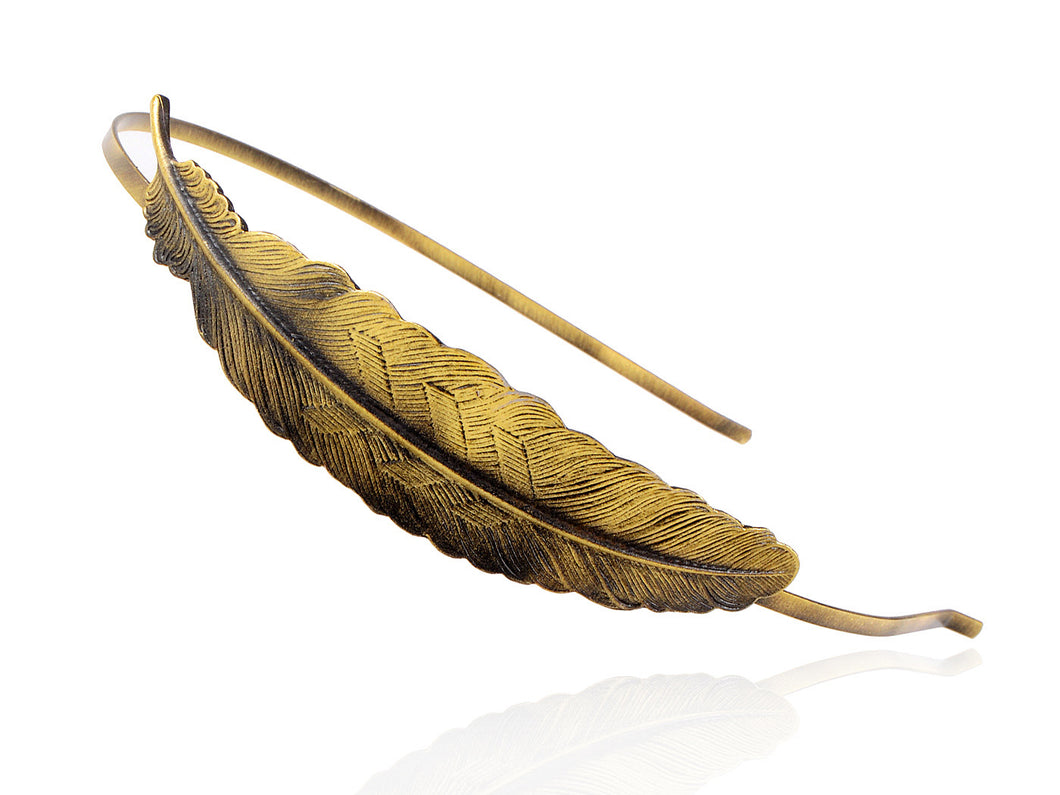 Vintage Bohemian Bronze Single Carved Bird Feather Head Band