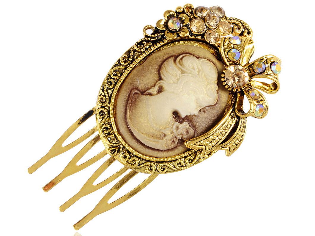 Gold Sculpted Lady Embellished Intricately Carved Single Hair Pin
