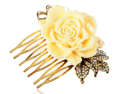 Gold Sculpted Yellow Rose Embellished Leaves Hair Pin