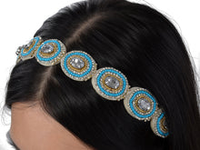 Load image into Gallery viewer, Elastic Flapper Blue Beaded Hair Piece Headband