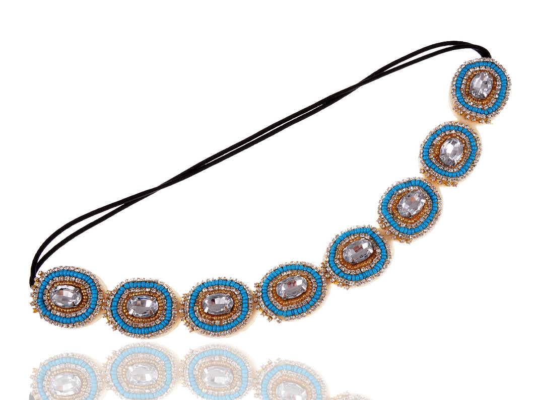 Elastic Flapper Blue Beaded Hair Piece Headband