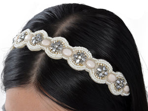 Beige Elastic Vintage Beaded Hair Piece Headband