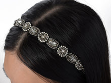 Load image into Gallery viewer, Beige Elastic Vintage Beaded Hair Piece Headband