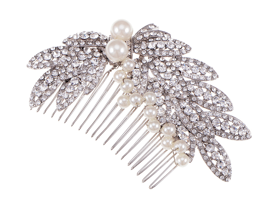 Pearl Silver Leaves Bridal Hair Comb