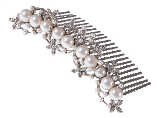 Silver Floral Stamen Simulated Pearl Bridal Hair Comb