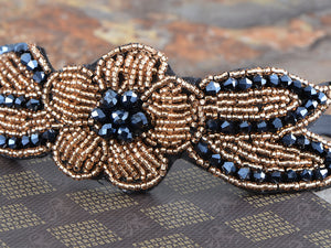 Vintage Floral Flapper Beaded Hair Piece Gold Blue Headband Gatsby Accessory