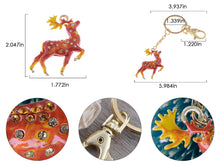 Load image into Gallery viewer, Enamel Handpainted Topaz Red Stag Deer Clip Key Chain