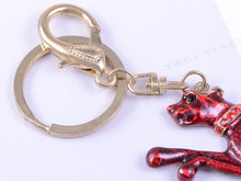 Load image into Gallery viewer, Ruby Red Enamel Speed Jaguar Leopard Hound Clip Keychain