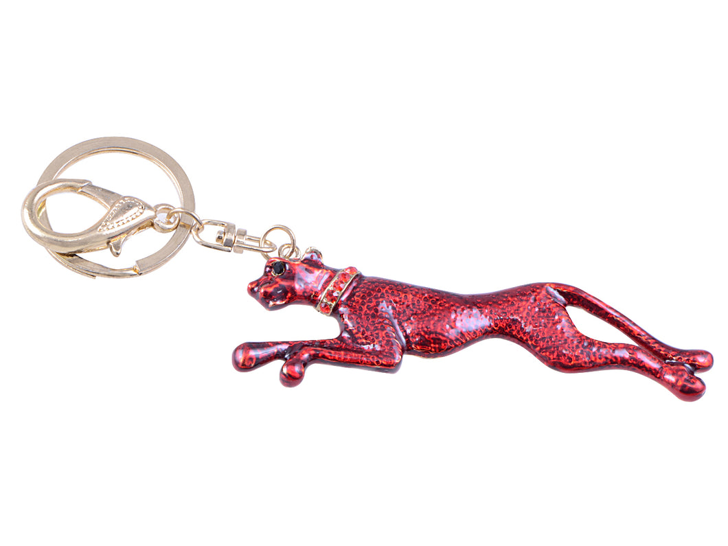 Ruby Red Enamel Speed Jaguar Leopard Hound Clip Keychain