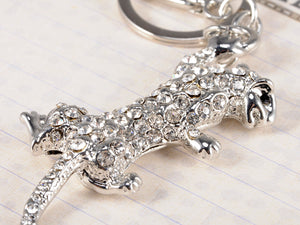Bling Fighting Jaguar Leopard Cat Key Chain