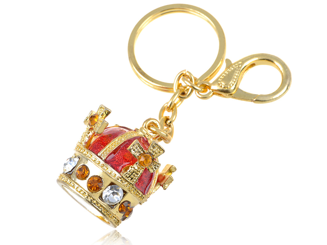 Red Orange Renaissance Royal Majesty King Crown Key Chain