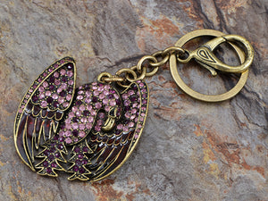Aged Bronze Amethyst Purple Body American Patriotic Eagle Key Chain