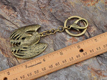 Load image into Gallery viewer, Aged Bronze Amethyst Purple Body American Patriotic Eagle Key Chain