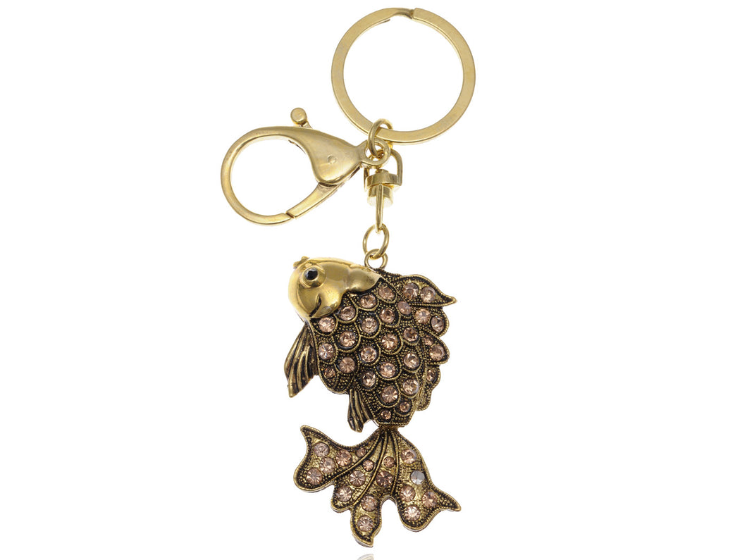 Antique Light Topaz Colored Vintage Japanese Koi Fish Key Chain