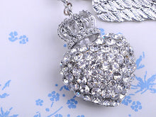 Load image into Gallery viewer, Silver Colored Crown Heart Wing Key Chain