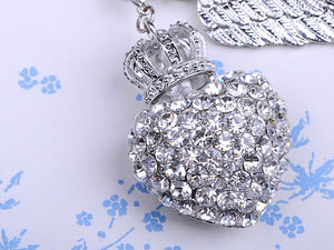 Silver Colored Crown Heart Wing Key Chain