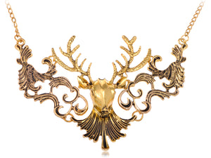 Moose Head Chain Necklace With Deately Painted Black Accents