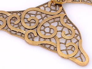 Antique Finished Modern Cuff Style Collar Necklace With Floral Center