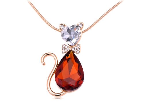 D Topaz Red Heart Bow Cat Pendent Necklace