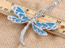 Load image into Gallery viewer, Blue Purple Glitter Enamel Dragonfly Pendant Necklace Over