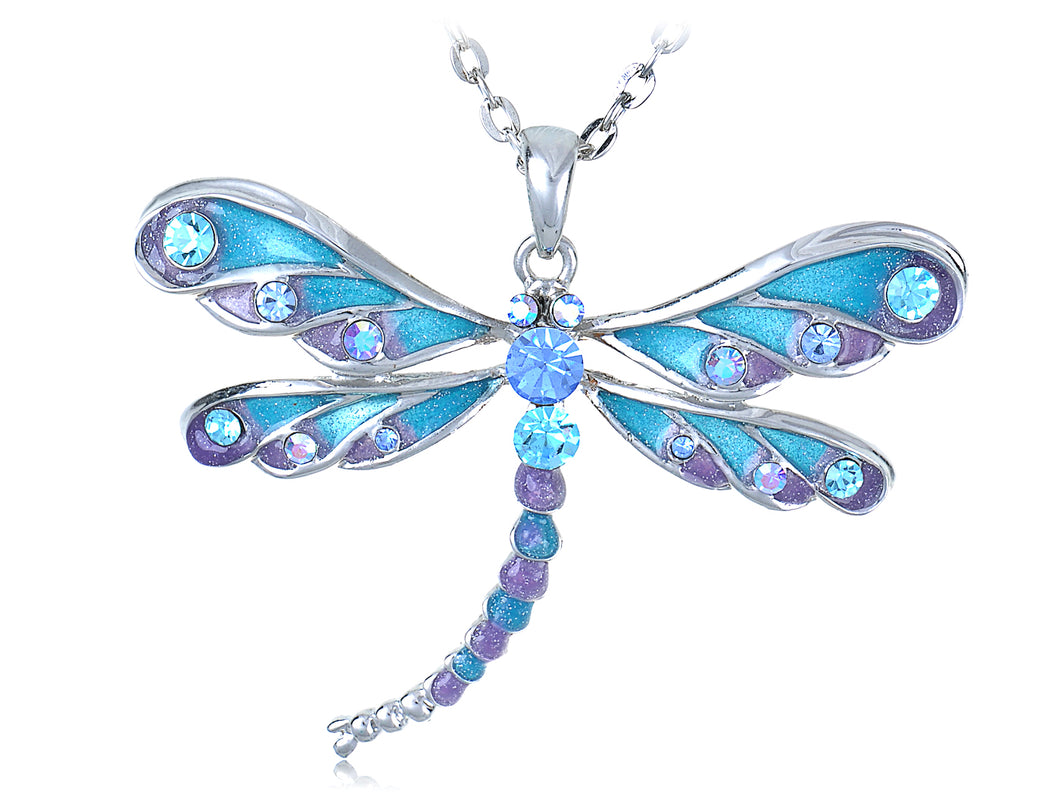 Blue Purple Glitter Enamel Dragonfly Pendant Necklace Over