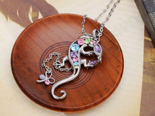 Load image into Gallery viewer, Silver Pastel Lizard Gecko Dragonfly Pendant Necklace