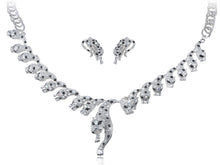 Load image into Gallery viewer, Silver Gun Leopard Cheetah Necklace Clip On Earring Set