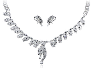 Silver Gun Leopard Cheetah Necklace Clip On Earring Set