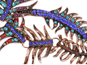 Copper Multi Colorful Peacock Feather Statement Necklace