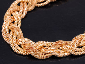Braided Necklace With Six Intertwined Chains And Multiple Finishes